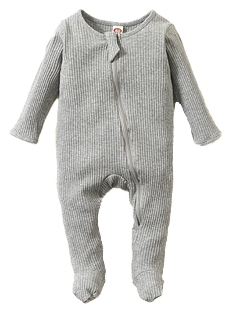 Grey Footed Ribbed Zippy Baby Sleepsuit - 0-3 and 3-6 months - Stylemykid.com