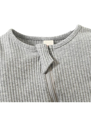 Grey Footed Ribbed Baby Zip Sleepsuit - 0-3 and 3-6 months - Stylemykid.com