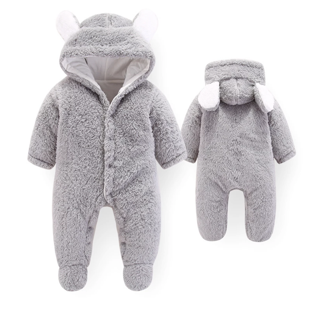 Grey Toasty Tot - Gorgeous grey Newborn Fleece Onesie with cute ears - Stylemykid.com