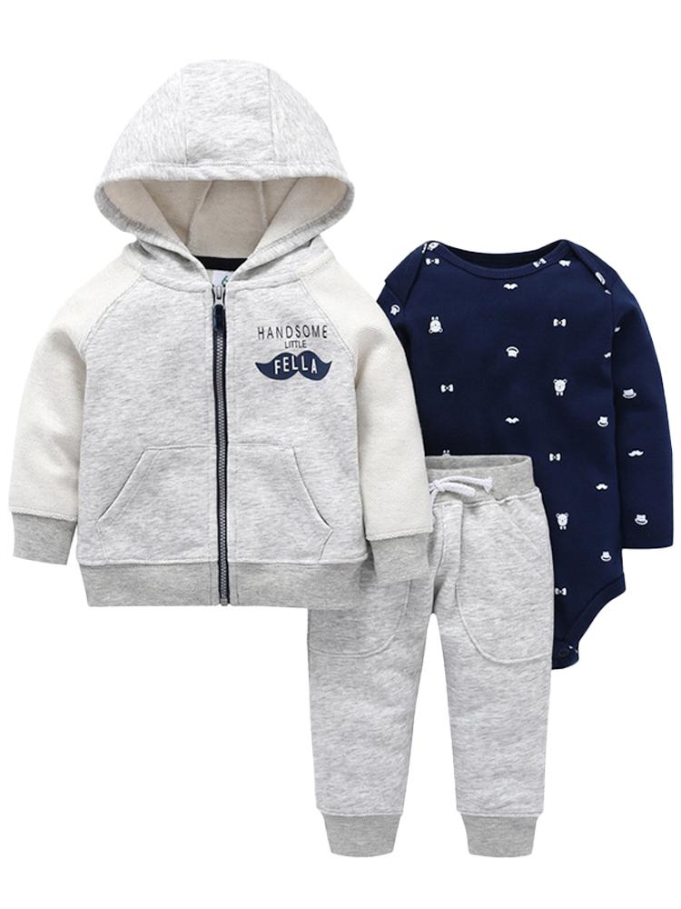 Handsome Little Fella - Hoody, Long Sleeve Printed Bodysuit & Jogger Bottoms - Boys 3 Piece Grey & Navy Outfit - Stylemykid.com