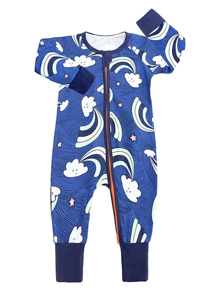 Happy Clouds Blue Baby Zip Sleepsuit with Hand & Feet Cuffs - Stylemykid.com