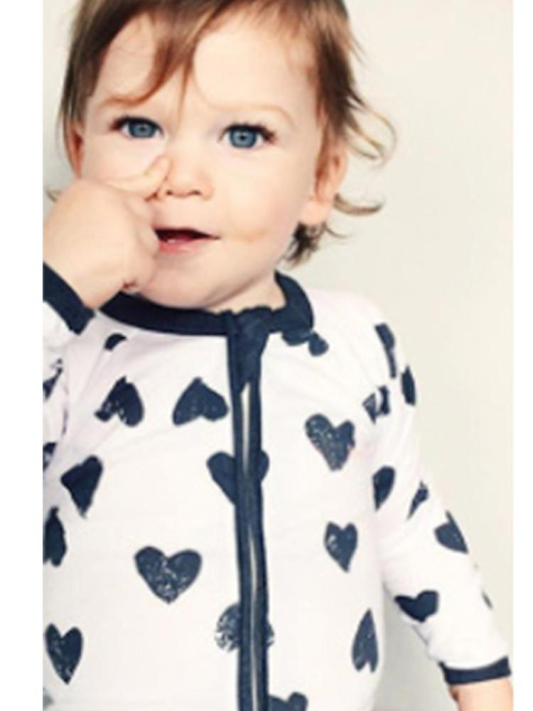Happy Hearts - White and Black Baby Zip Sleepsuit with Hand & Feet Cuffs - NEW DESIGN - Stylemykid.com
