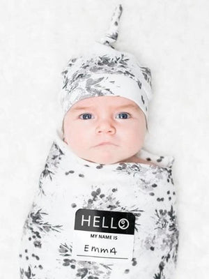 Lulujo - Bamboo Hat and Swaddle Blanket - Black Floral - Stylemykid.com