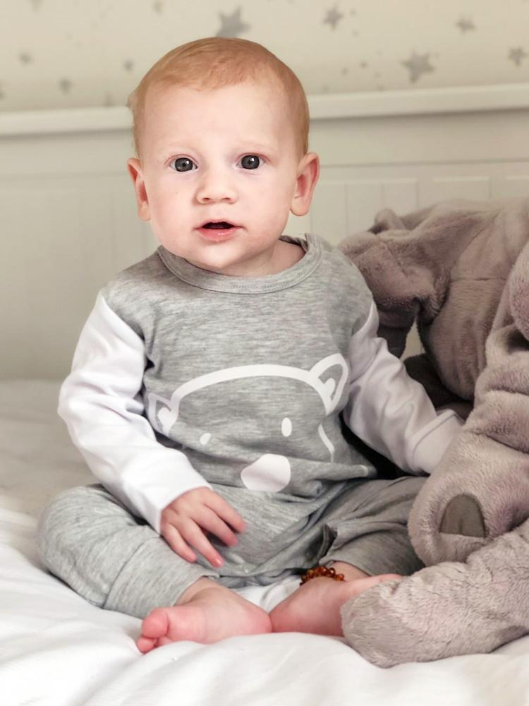 Grey Bear Face Cheek Baby Sleepsuit - Stylemykid.com