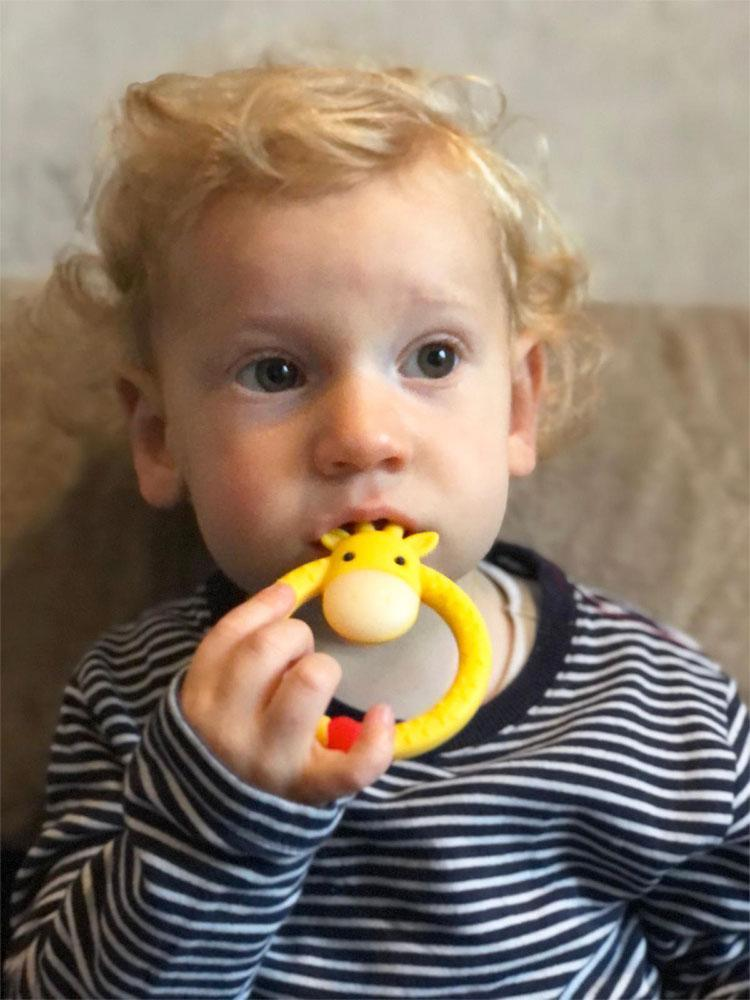 Yellow Giraffe Teether - Silicone Giraffe Ring Baby Teether Toy -  0 to 24 Months