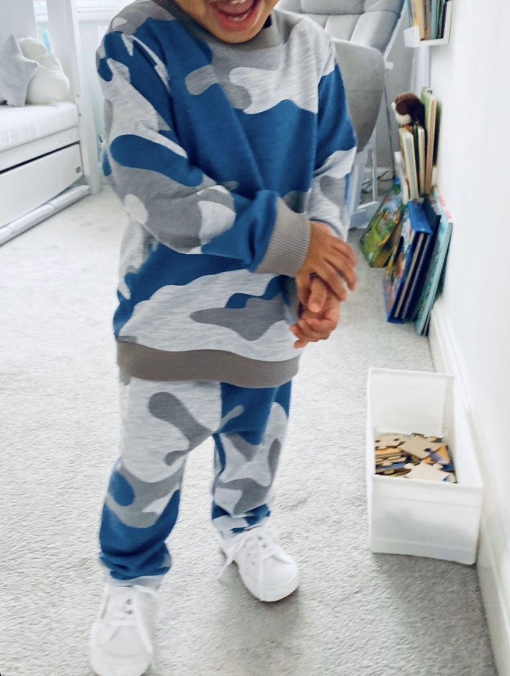 Boys Camouflage Joggers in Blue & Grey - 3 months to 3 years - Stylemykid.com
