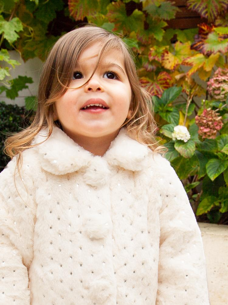 BabyBol - Winter White Sparkly Star Fluffy Faux Fur Girls Jacket - Stylemykid.com