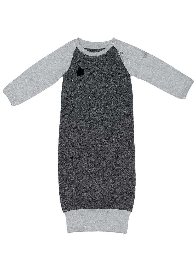 Juddlies - Organic Newborn Baby Nightgown with Fold-over hands - Raglan Collection Graphite Grey/Black - Stylemykid.com