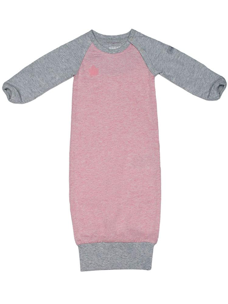 Juddlies - Organic Newborn Baby Open Sleepsuit Nightgown with hand cuffs - Raglan Collection Dogwood Pink & Grey - Stylemykid.com