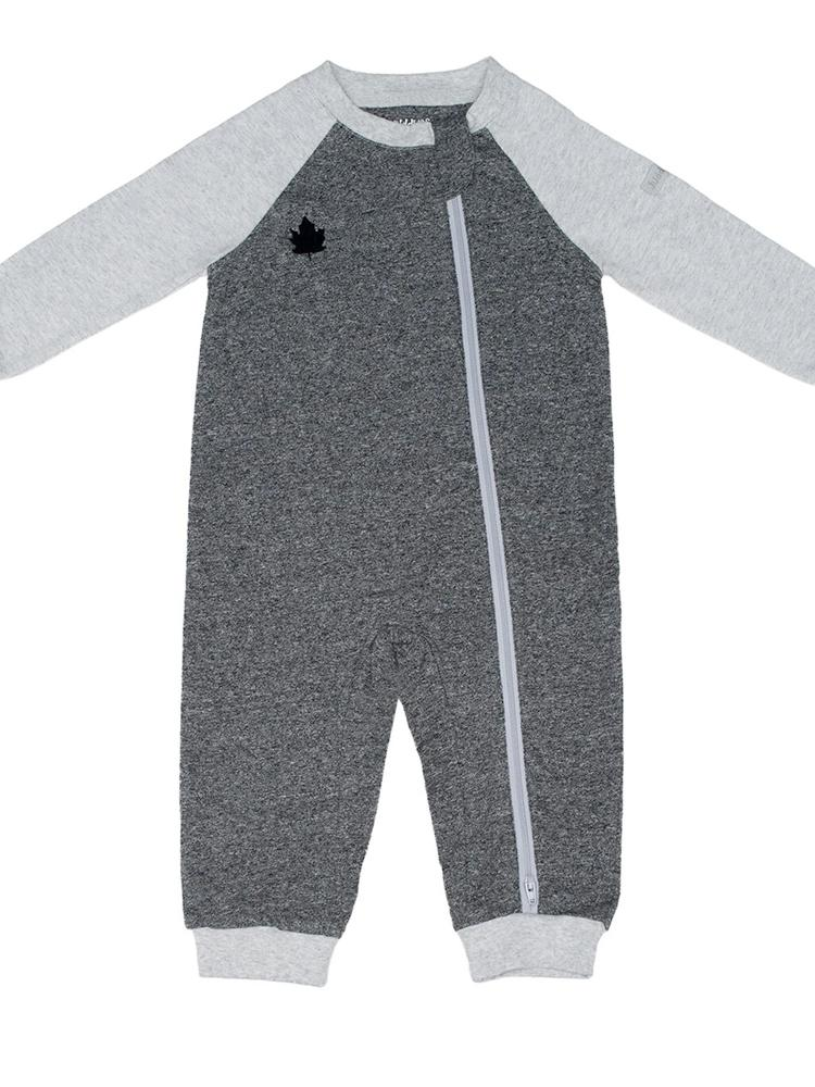 Juddlies - Organic Baby Playsuit Sleepsuit with Double Zip - Raglan Collection - Graphite Black/Grey - Stylemykid.com