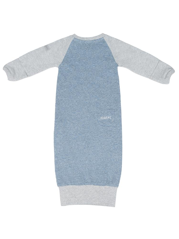 Juddlies - Organic Newborn Baby Nightgown with Fold-over hands - Raglan Collection Denim Blue - Stylemykid.com