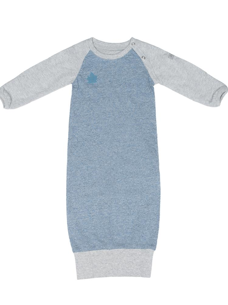 Juddlies - Organic Newborn Baby Open Sleepsuit / Nightgown with Hand Cuffs - Raglan Collection Denim Blue - Stylemykid.com