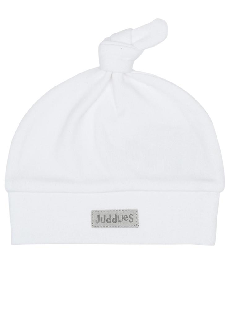Juddlies - Organic Essentials Collection Pure White Knotted Baby Hat - Newborn - Stylemykid.com
