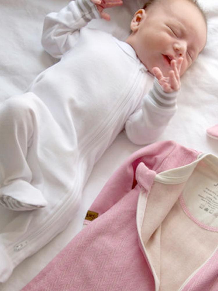 Juddlies - Organic White Baby Sleepsuit with Double Zip & Grippy Feet - Essentials Collection