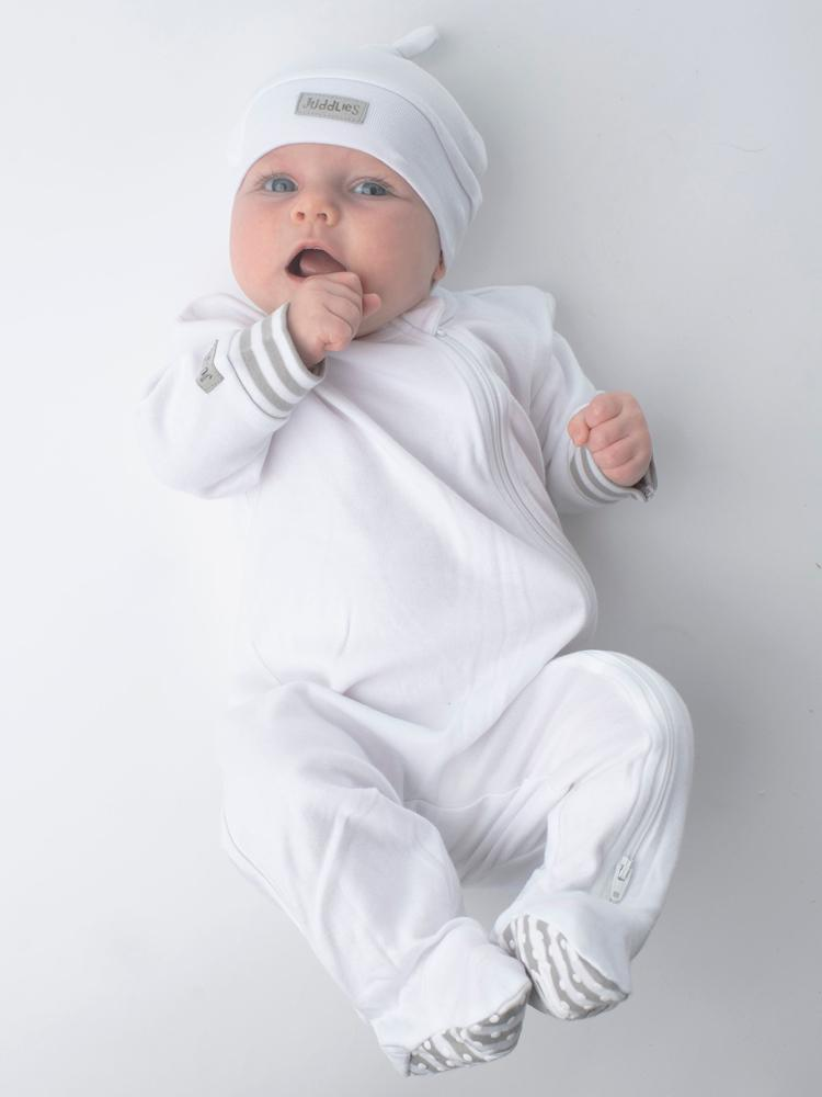 Juddlies - Organic White Baby Sleepsuit with Double Zip & Grippy Feet - Essentials Collection - Stylemykid.com