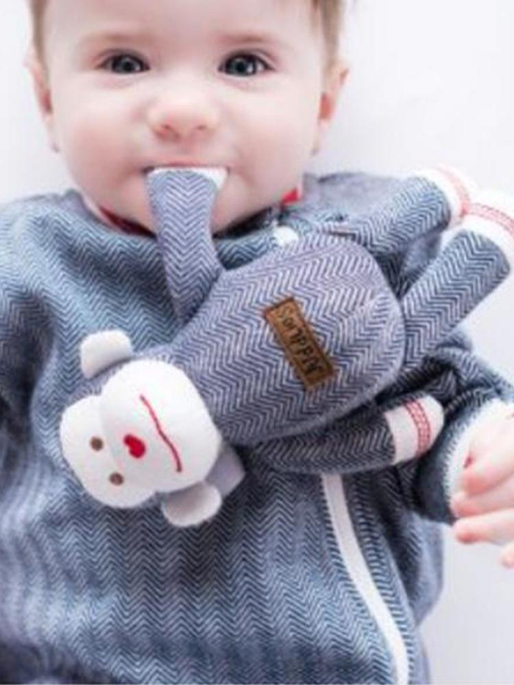 Juddlies - Baby Soft Toy Rattle Comforter - Organic Lake Blue Monkey - Cottage Collection
