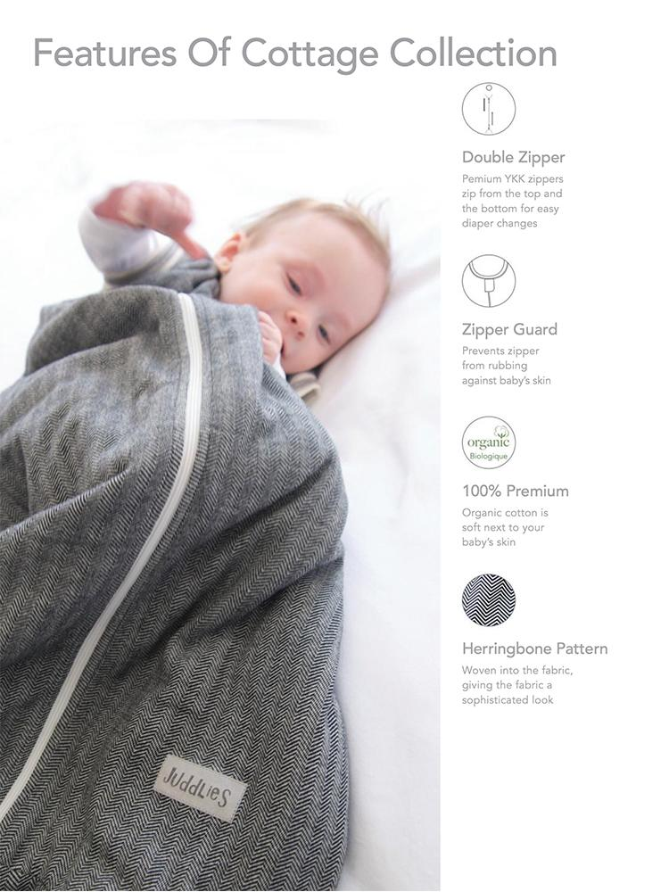 Juddlies - 2.5 Tog Dream Sack Baby Sleeping Bag - Bear Black - Organic Cottage Collection - Stylemykid.com