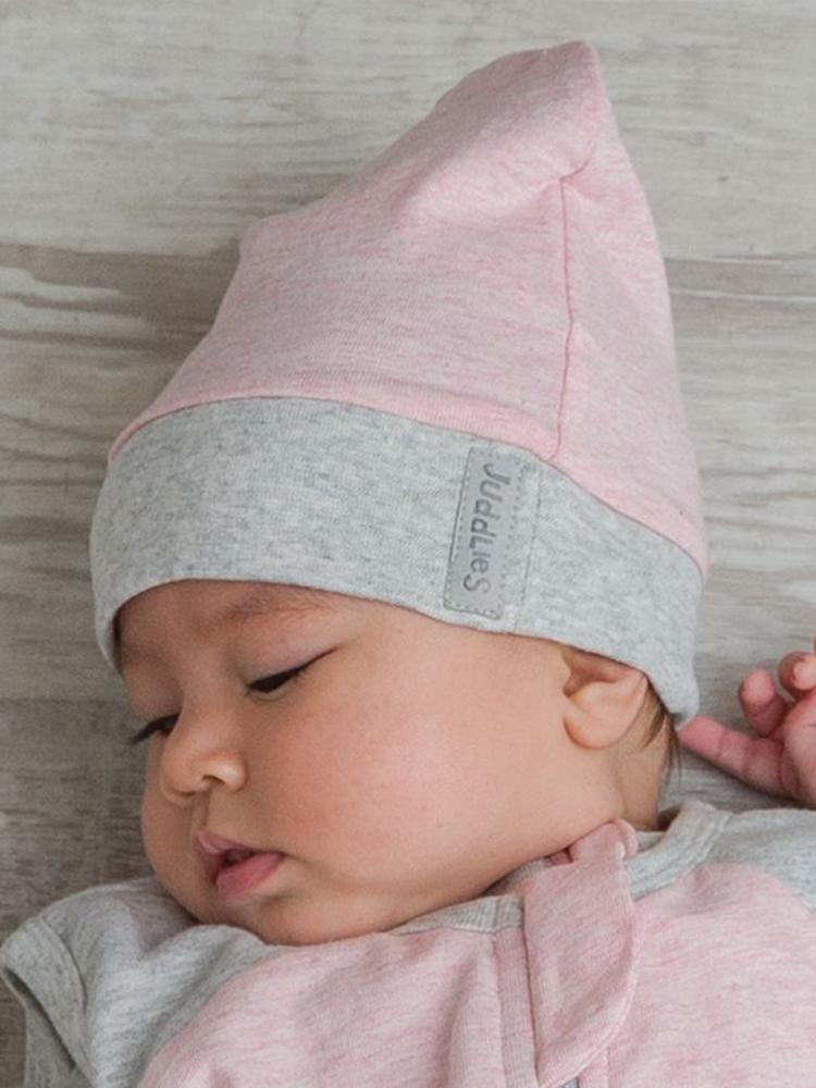 Juddlies - Organic Graphite Dogwood Pink Slouchy Baby Hats - Raglan Collection - Pack of 2 - Stylemykid.com
