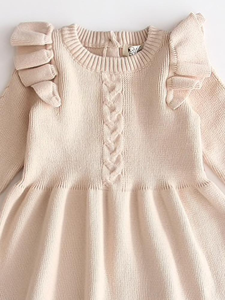 Little Girls Latte Cream Jumper Dress with Frill Design - Stylemykid.com