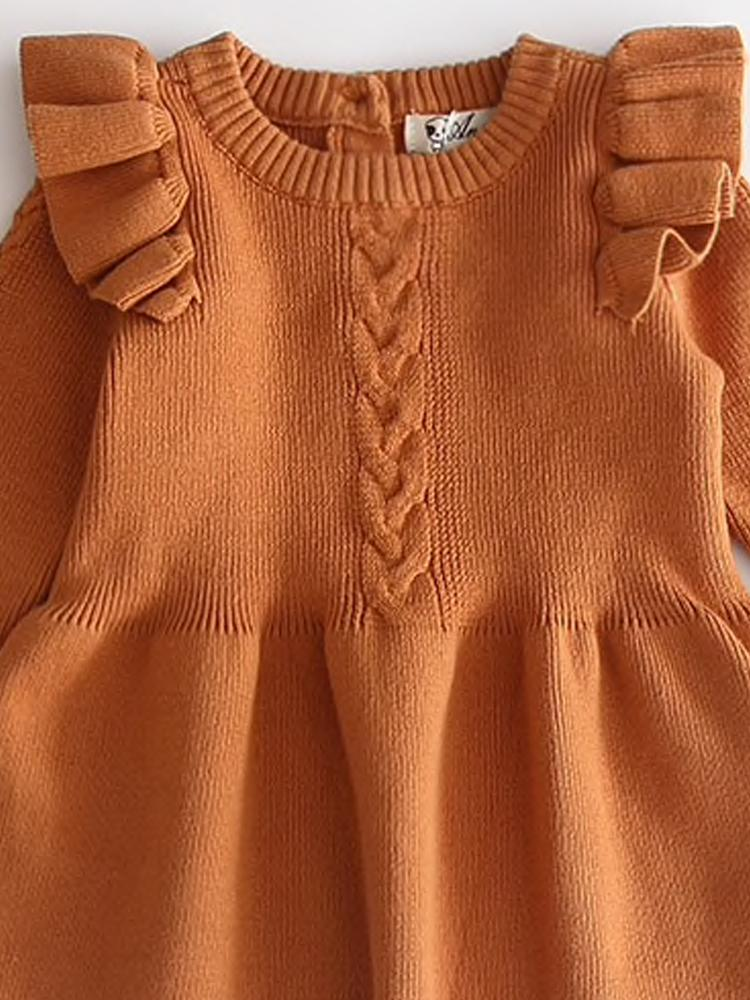 Little Girls Burnt Orange Jumper Dress with Frill Design - Stylemykid.com