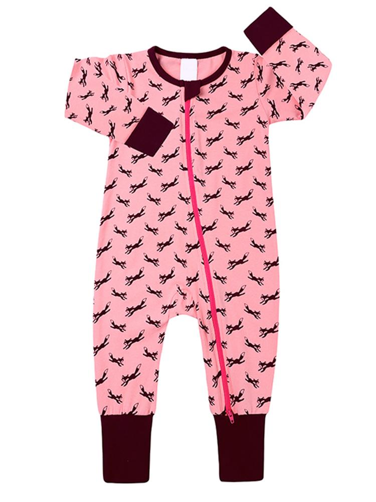 Jumping Foxes Pink Baby Zip Sleepsuit with Hand & Feet Cuffs - NEW DESIGN - Stylemykid.com