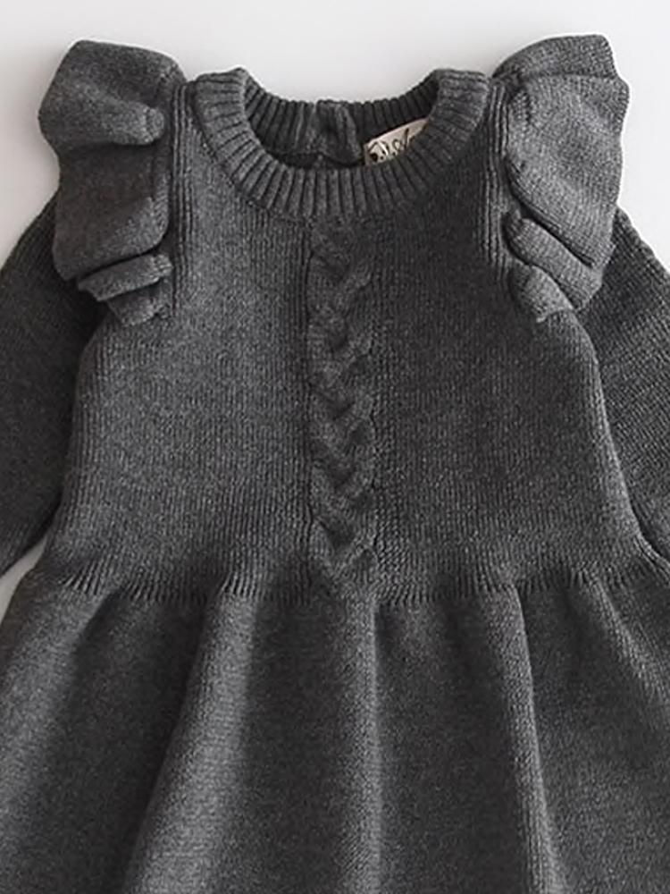 Little Girls Slate Grey Jumper Dress with Frill Design - Stylemykid.com