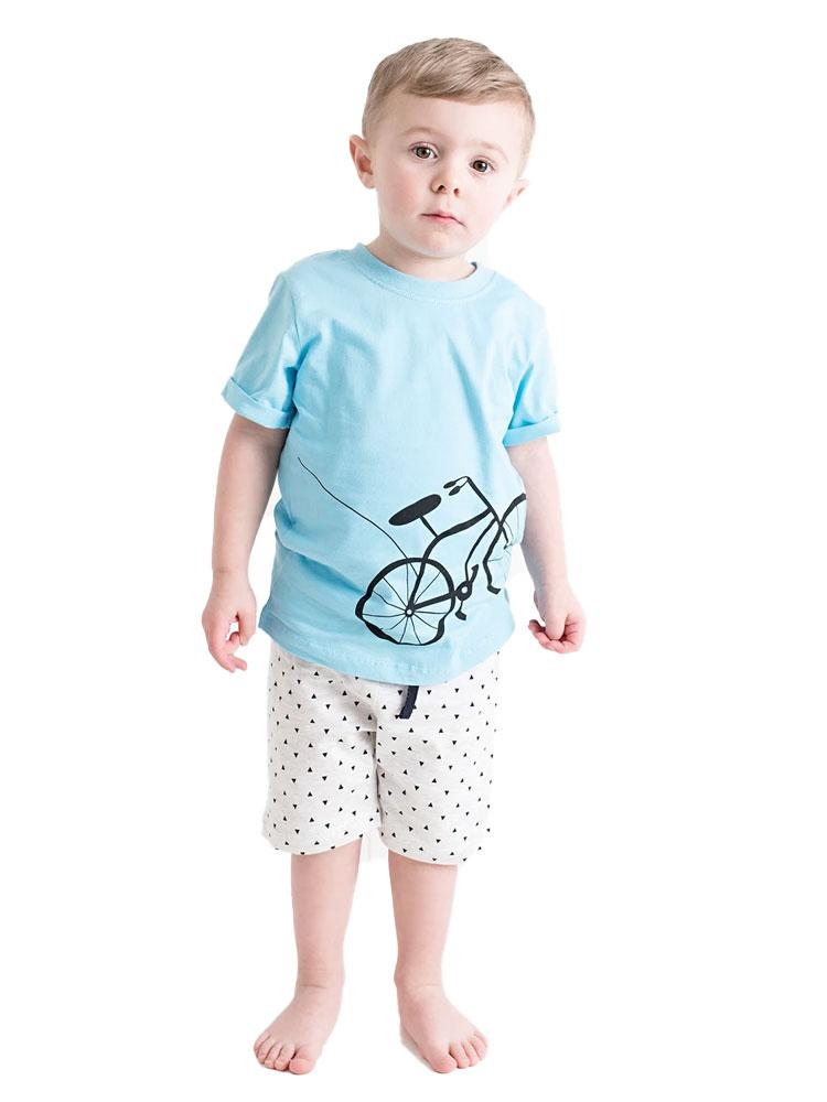 Boys Blue Bicylce T-shirt with matching light grey shorts - Stylemykid.com