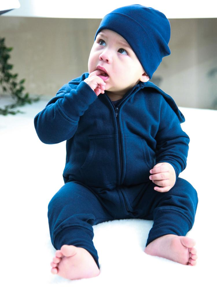 Navy Blue Hooded Fleece Baby & Toddler Onesie - Everyday Collection - Stylemykid.com