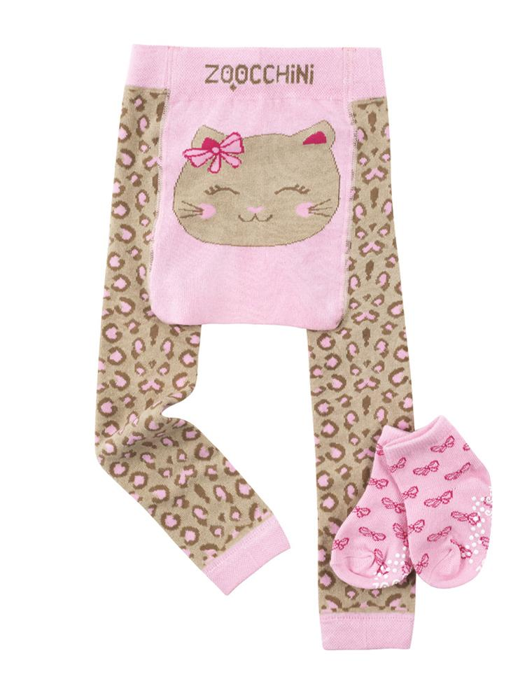 Zoocchini - Baby Leggings & Socks Set - Grip+Easy™ Comfort Crawlers - Kallie the Kitten - Stylemykid.com