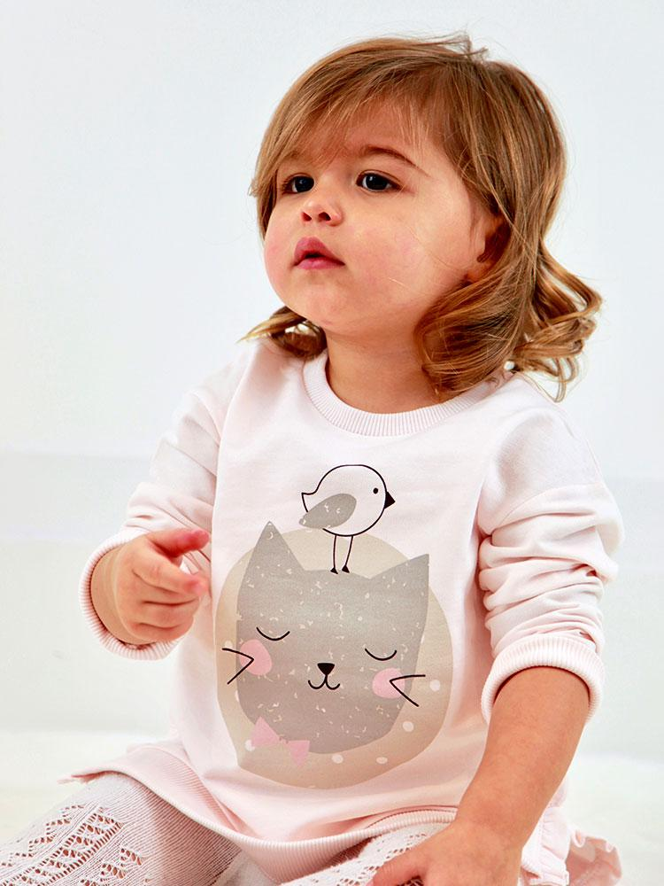 Kitty Cat Pink Frill Sweatshirt - 6 months to 4 years - Stylemykid.com