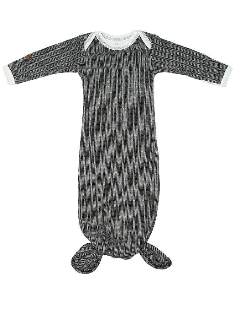 Juddlies - Organic Fishtail Knotted Baby Nightgown - Bear Black - Stylemykid.com
