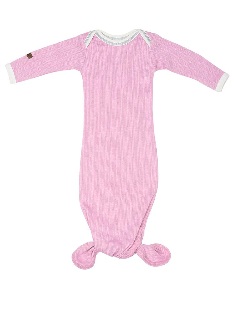 Juddlies - Newborn Organic Fishtail Knotted Baby Nightgown - Sunset Pink - Cottage Collection - Stylemykid.com