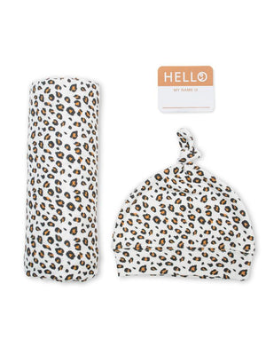 Lulujo - Bamboo Hat and Swaddle Blanket - Leopard - Stylemykid.com