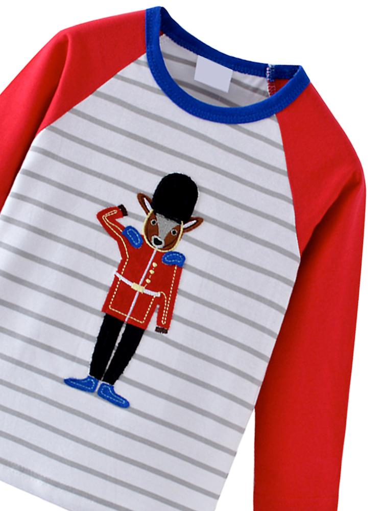 London Guard Long Sleeve Red, White & Blue Striped and Block Colour Top - Stylemykid.com