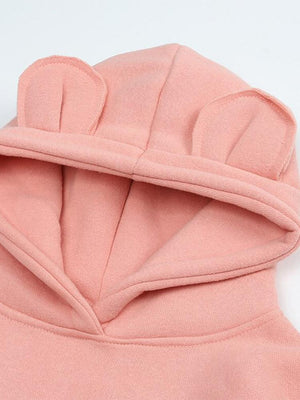 Animal Ears Hooded Sweatshirt - Pink - Stylemykid.com