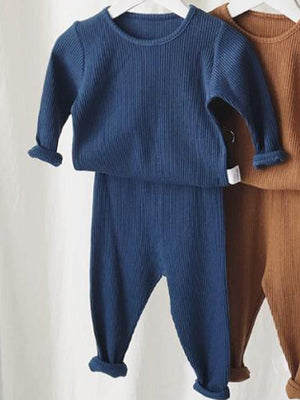 Baby & Toddler Lounge Set - Plain Ribbed Top and Bottoms - Dark Blue - Stylemykid.com