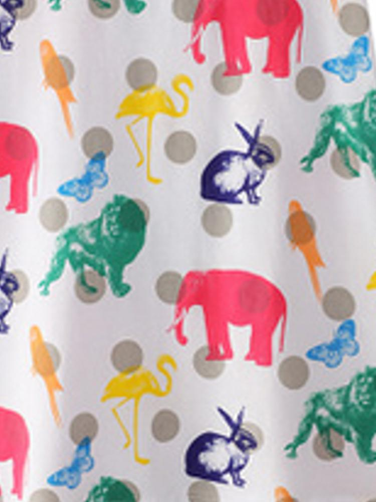 Counting Animals - Multicoloured Short Sleeved White Dress - Stylemykid.com