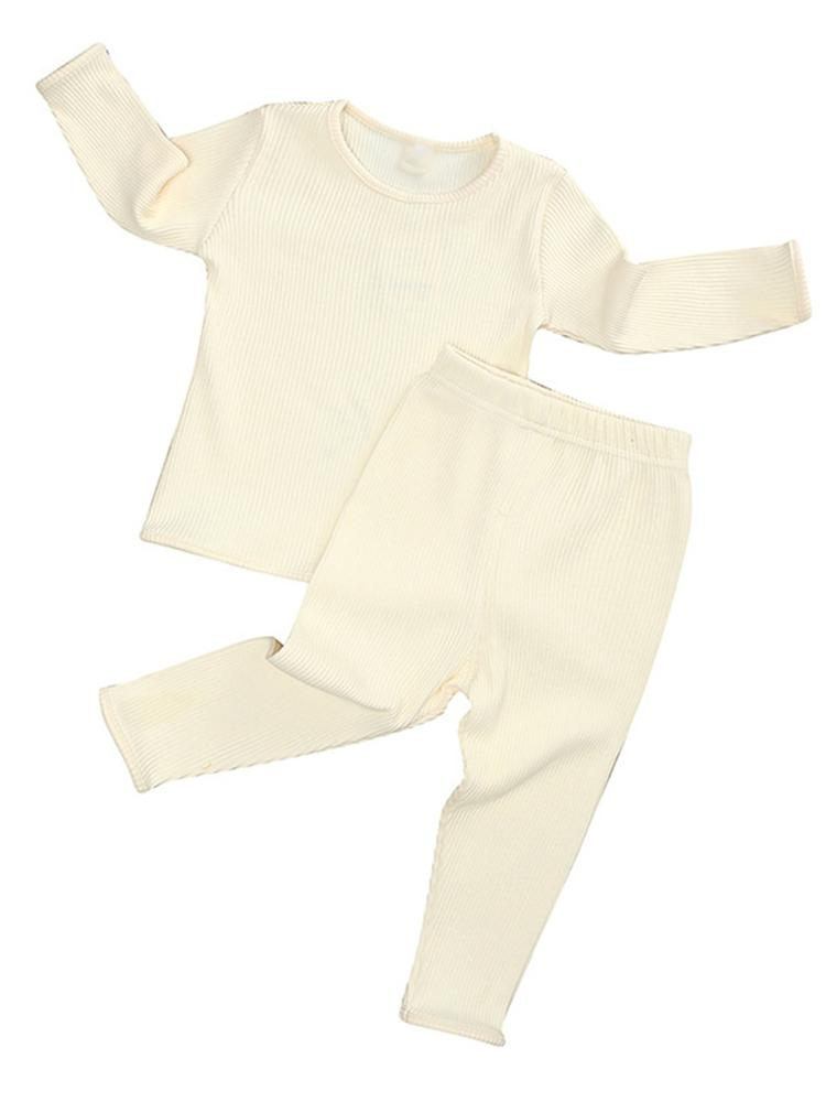 Baby & Toddler Lounge Set - Plain Ribbed Top and Bottoms - Cream - Stylemykid.com