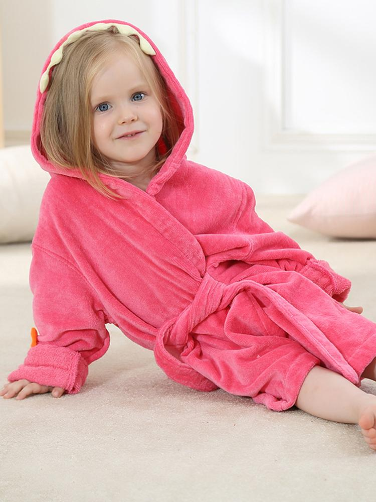 Dark Pink Dinosaur Hooded Dressing Gown with Spikes & Tail - Stylemykid.com