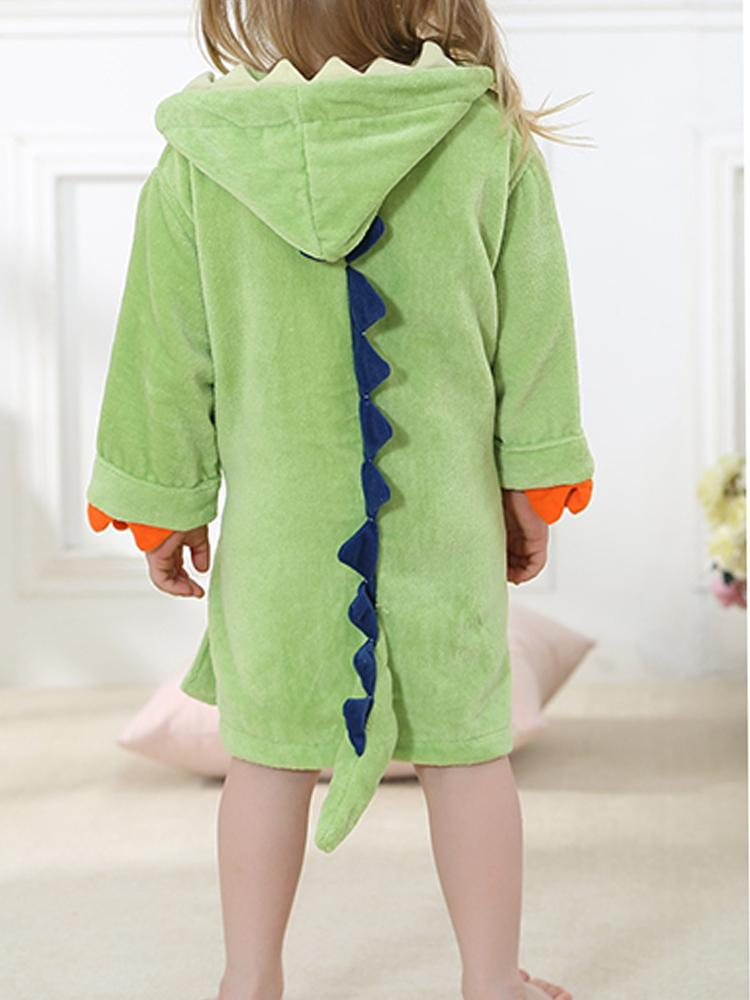 Green Dinosaur Hooded Dressing Gown with Spikes & Tail - Stylemykid.com