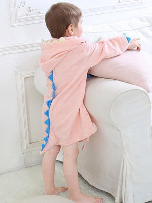 Pale Pink Dinosaur Hooded Dressing Gown with Spikes & Tail - Stylemykid.com