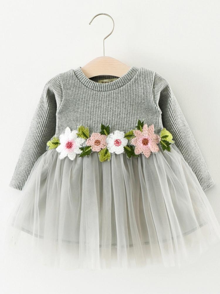 Grey Flower Girls Party Tutu Dress - Sliver Grey - Stylemykid.com