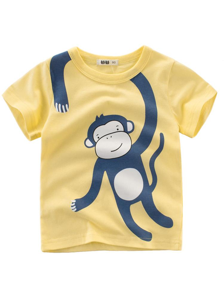 Wraparound Monkey Yellow T-shirt - Stylemykid.com