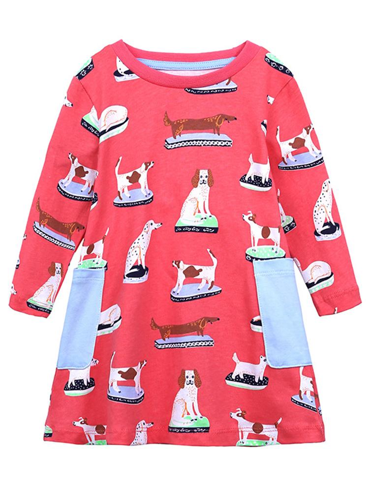 Puppy Power Cerise Pink Long Sleeved Girls Dress - Stylemykid.com