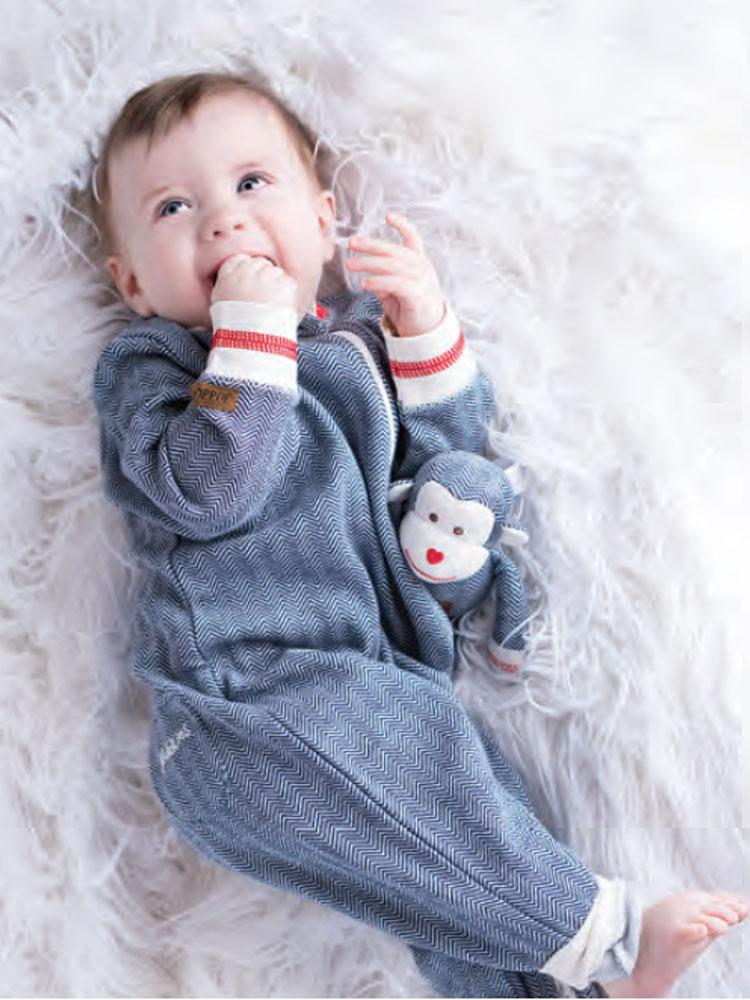 Juddlies - Organic Lake Blue Baby Sleepsuit / Playsuit - Cottage Collection - Stylemykid.com
