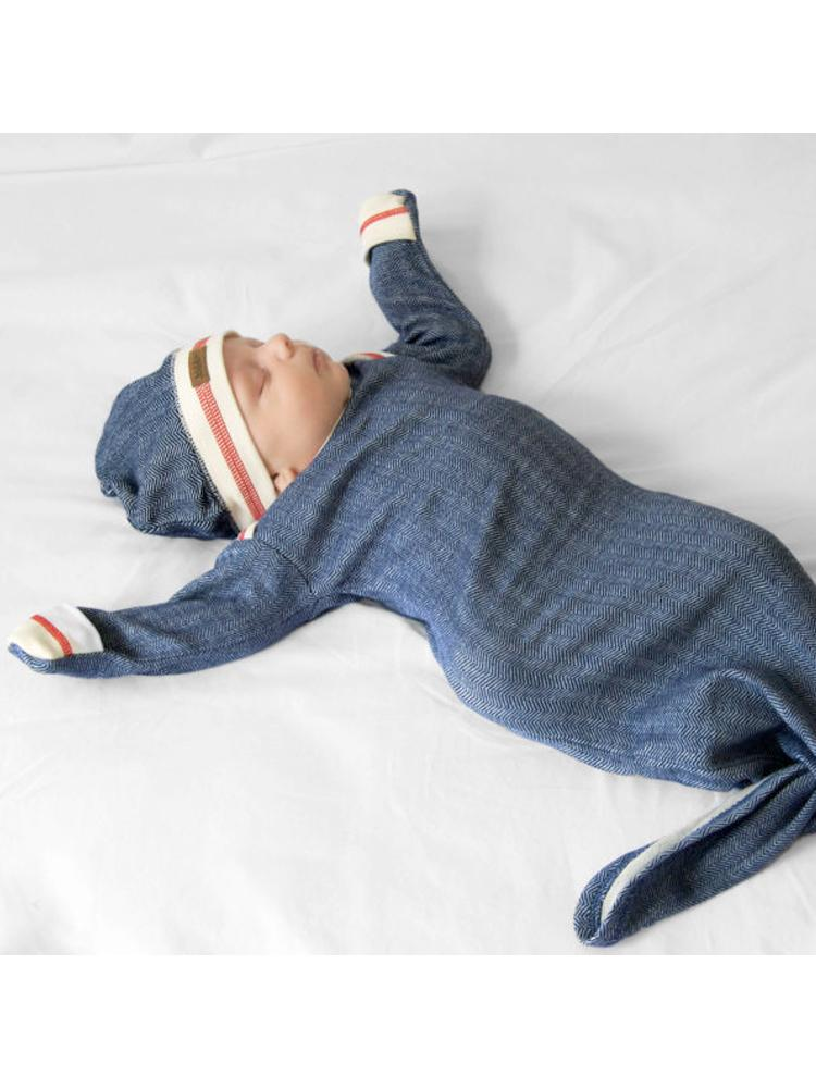 Juddlies - Newborn Organic Fishtail Knotted Baby Nightgown - Lake Blue - Cottage Collection - Stylemykid.com