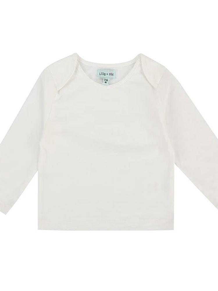 Lilly & Sid Organic White/ Ecru Layering Long Sleeve Top - Stylemykid.com