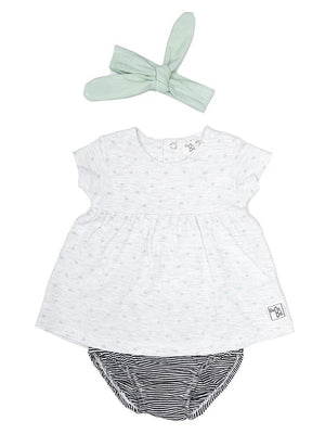 Babybol - Fluttering Leaves Dress, Knickers & Headband Baby 3 Piece Outfit - Stylemykid.com