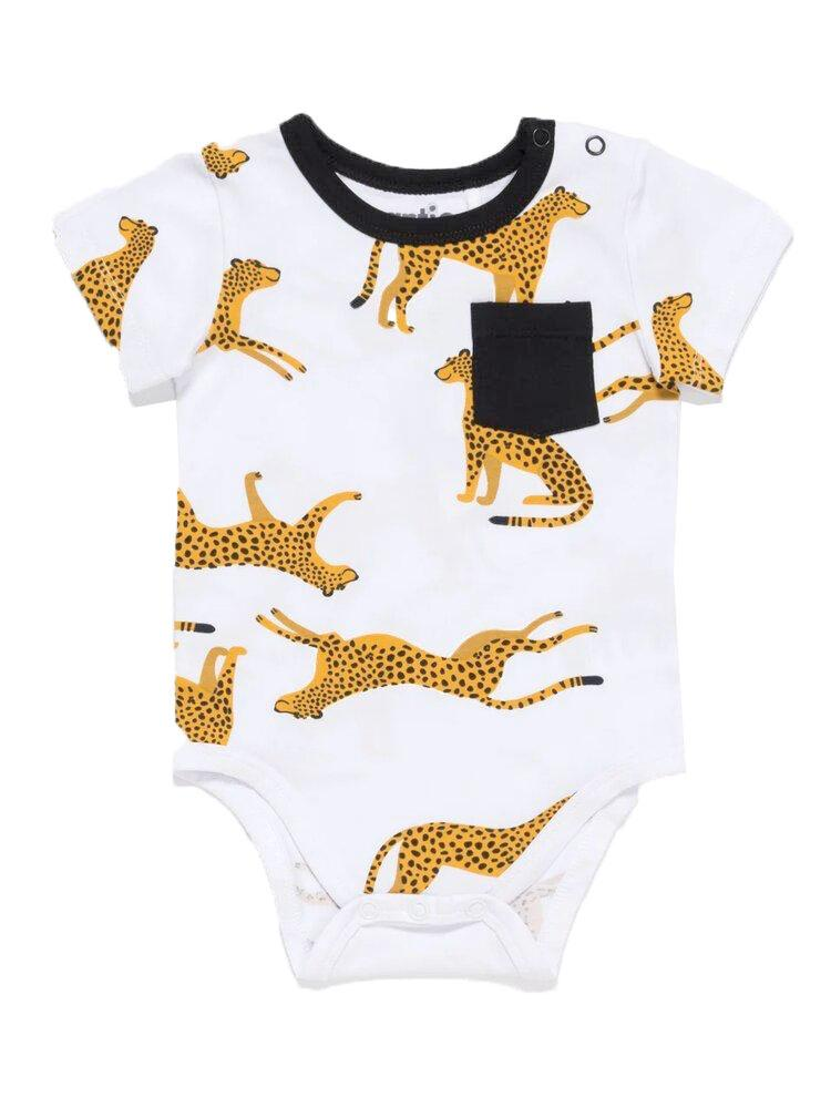 Leopard Pocket White Short Sleeve Baby Bodysuit - Stylemykid.com