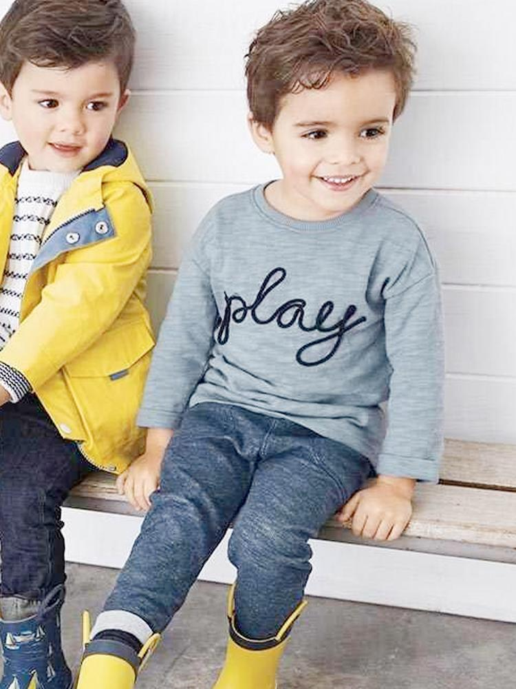 Lets Play Set - Boys Long Sleeved Grey T-Shirt &  Matching Trousers - Stylemykid.com